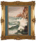 "Enrique Casanova (1850-1913)""Farol da Guia, Cascais""Watercolour on paper applied on cardboard Si"