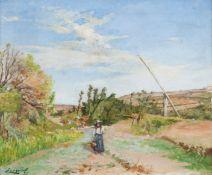 """Ezequiel Pereira (1868-1943)""""Cruz Quebrada""""Oil on panel Signed and dated 9132,5x40 cm<br"""