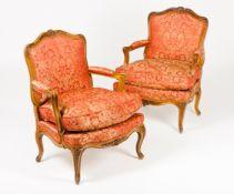 A pair of Louis XV style bergères