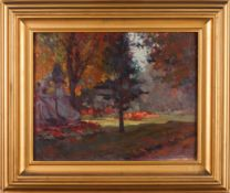 "Carlos Bonvalot (1893-1934)""Jardin du Luxemburg""Oil on cardboard Signed and dated ""Paris 1920""<b"