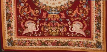 An Aubusson style carpetWool and cotton Central medallion, foliage scrolls, swans and flower gar