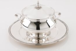 A tureen with cover and trayPortuguese silver Plain body on circular foot Bell shaped lid pommel
