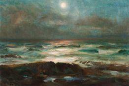 """Ernest Hayes (1914-1978)""""Moonrise - Irish Coast""""Oil on canvas Signed40,5x58,5 cm"""