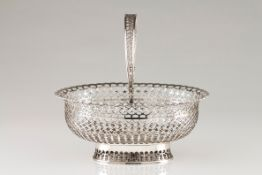 A bread basketPortuguese silver, 19th century Plain centre, geometric motifs pierced oval shaped