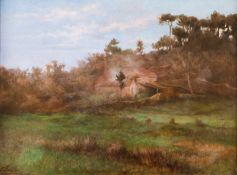 Torcato Pinheiro (1850-1910)A landscape with trees and buildingsOil on canvas Signed and date