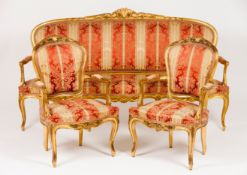 A Louis XV style settee and pair of fauteuils