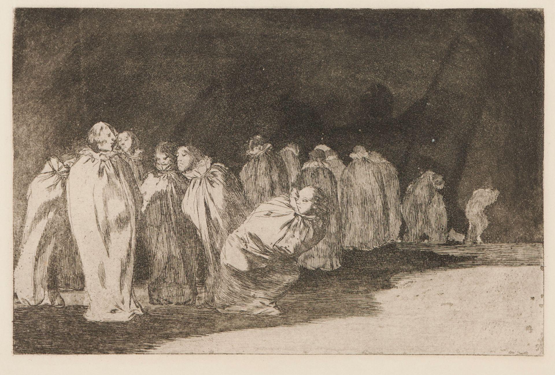 """Francisco de Goya (1746-1828)""""Los ensacados""""Black ink print on paper 19th century, ca. 1815W"""