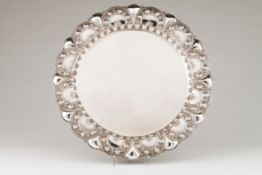 A large salverPortuguese silver Plain centre and lip of unusual scalloped and raised decoration