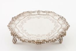 A D.José / D.Maria card trayPortuguese silver, 18th / 19th century Chiselled centre of floral an
