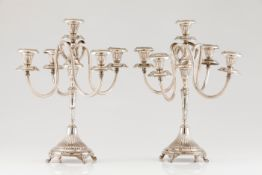 A pair of five branch candelabraPortuguese silver Fluted decoration with removable striated serp