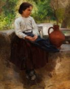 "Ernesto Condeixa (1858-1933)""The girl at the fountain""Oil on canvas Signed81,5x66 cm"