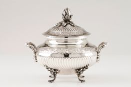 A tureen with coverPortuguese silver Circular body of spiralled fluting and floral bands decorat