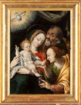 European school, 16th / 17th centuryThe Holy Family with Saint Anne Oil on board36,5x27 cm