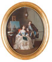 French school, 18th centuryAn interior scene Pastel on paper applied on canvas82x65 cm