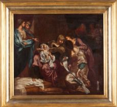 Portuguese school of the late 18th, early 19th centuryNativity of Our Lady Oil on canvas46x45,5 cm
