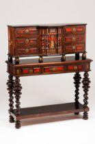 A Flemish style Spanish cabinetRosewood, walnut, satinwood and turtle Ebonised feet and friezes Gilt