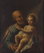 Portuguese school, 18th centurySaint Joseph with the Child Jesus Oil on copper32,5x27 cm