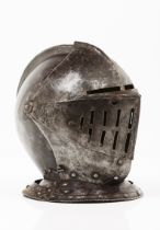 An closed helmetWrought iron Europe, 16th century (later upper and lower visors)30x25x31 cm