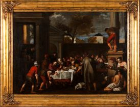 """Spanish school, 18th / 19th century""""The Wedding at Cana"""" Oil on canvasA copy of the painting by"""