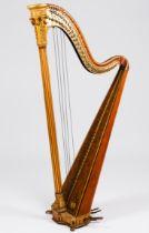 A Symphonic harp, Sebastian ErardMaple wood Carved and gilt decoration Fluted column and crown/