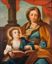 Portuguese school of the 18th centurySaint Anne teaching Our Lady to read Oil on canvas (