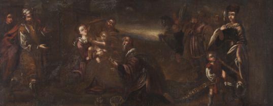 European school, 17th centuryThe Adoration of the Magi Oil on canvas applied on hardboard33x82 cm