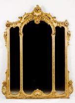 A large Louis XV style wall mirrorGilt carved wood and gesso 19th century (minor faults)208x158 cm