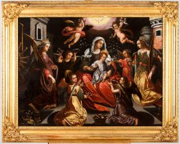 European school, 16th centuryThe Virgin and Child at the centre surrounded by angels and flanked