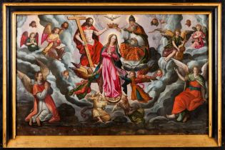 Flemish school, 16th / 17th centuryThe Coronation of the Virgin by the Holy Trinity Oil on