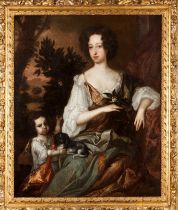 Circle of GODFREY KNELLER (1646-1723)English school, 17th century Portrait of a lady with child a