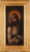 """Portuguese School, 16th century""""Ecce Homo"""" Oil on board50,5x24,5 cm"""