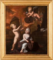 French school, 17th / 18th centuryAllegory to the ephemeral Oil on canvas With heraldic