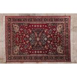 Kashal rug, IranIn wood and cotton Geometric design in shades of burgundy, green, blue and