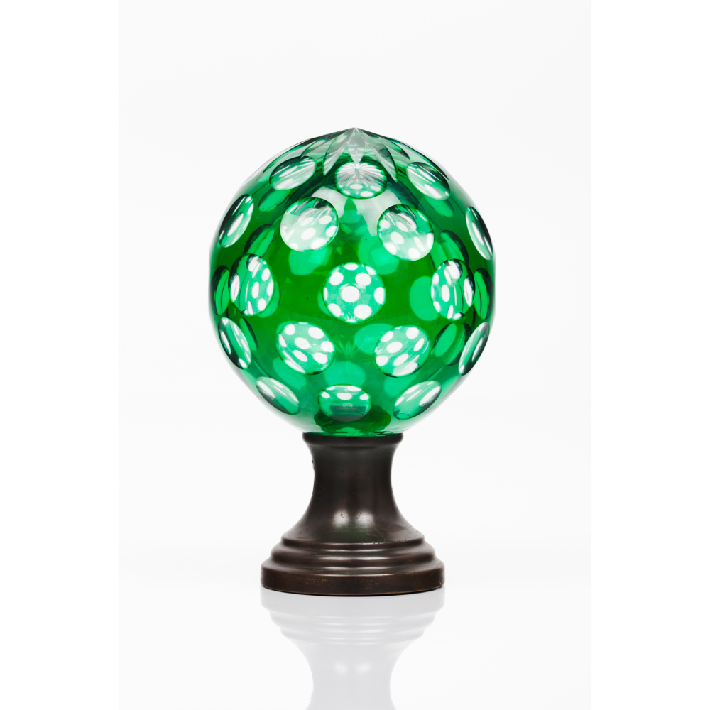 A staircase finialGreen cut glass Metal fitting Possibly Baccarat or Saint Louis France, 19th
