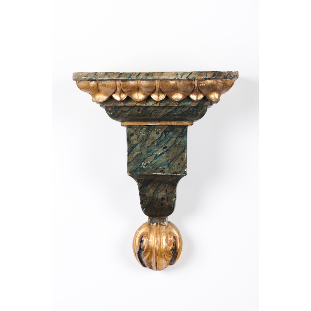 A pair of D.Maria bracketsCarved, marbled and gilt wood Portugal, 18th / 19th century (minor - Image 2 of 2