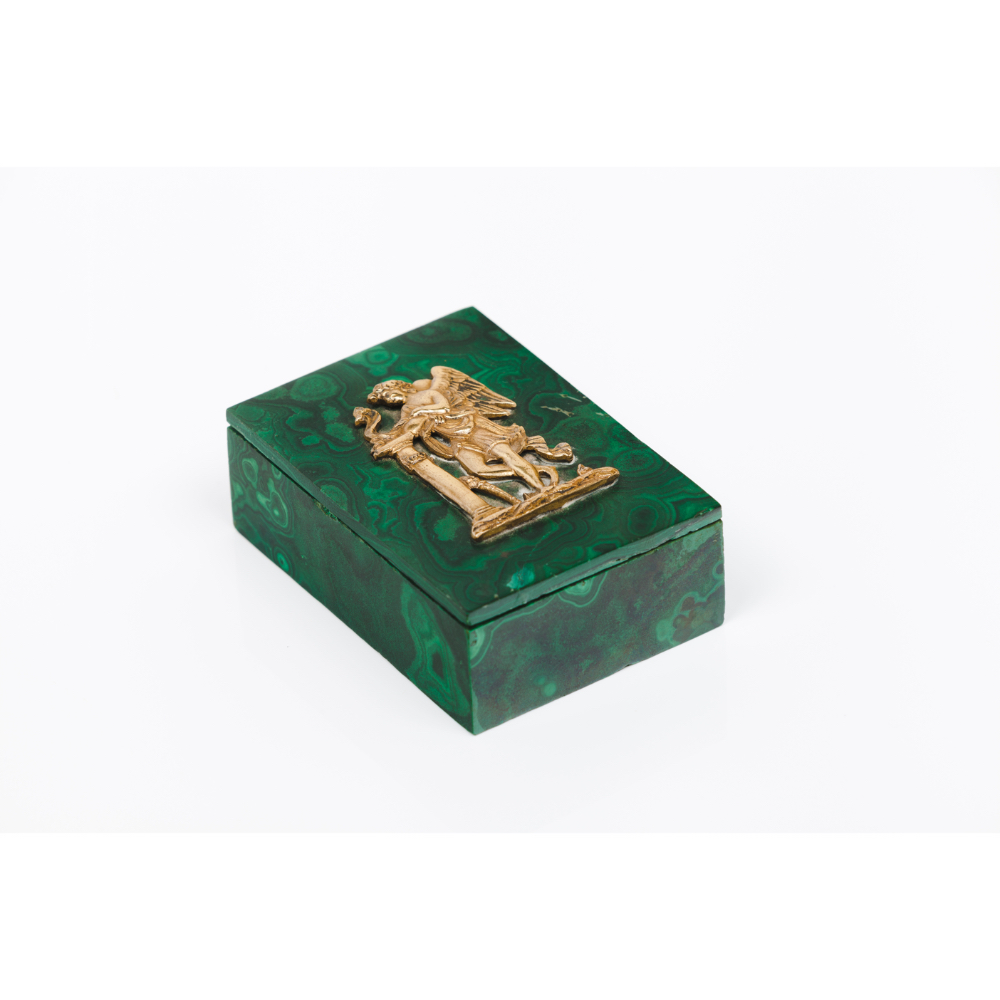 A box with coverMalachite Gilt bronze applied element on the cover depicting classical figure