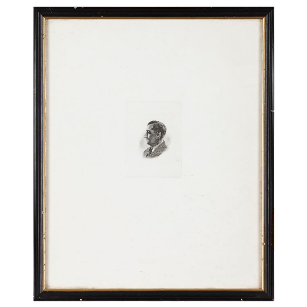 "A profile portrait of António de Oliveira SalazarBlack ink print on paper Signed ""A.Lucas S.C."""