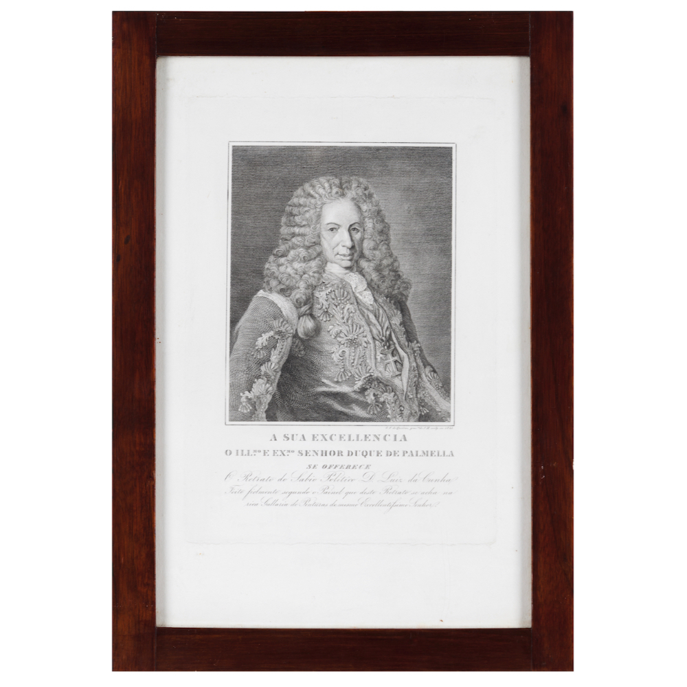 A portrait of Luiz da CunhaBlack ink on paper drawing Engraved by Gregório Francisco de Queirós (