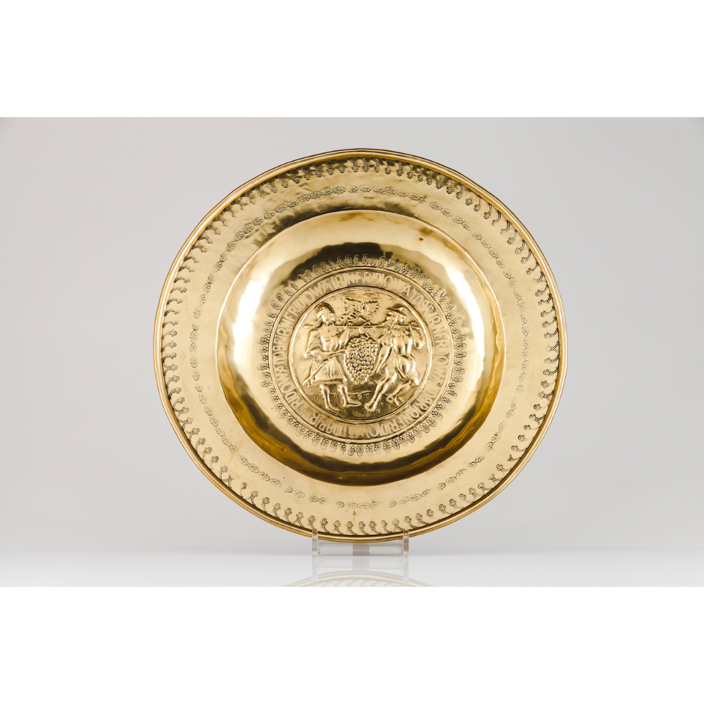 A Nuremberg donations plateYellow metal Reliefs decoration of central Joshua and Caleb carrying a