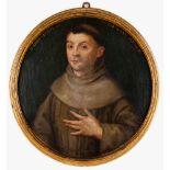 "European school, 16th centurySaint Anthony Oil on board Inscribed: ""ANNO ETATIS SVE XXXV . MDLVII"""