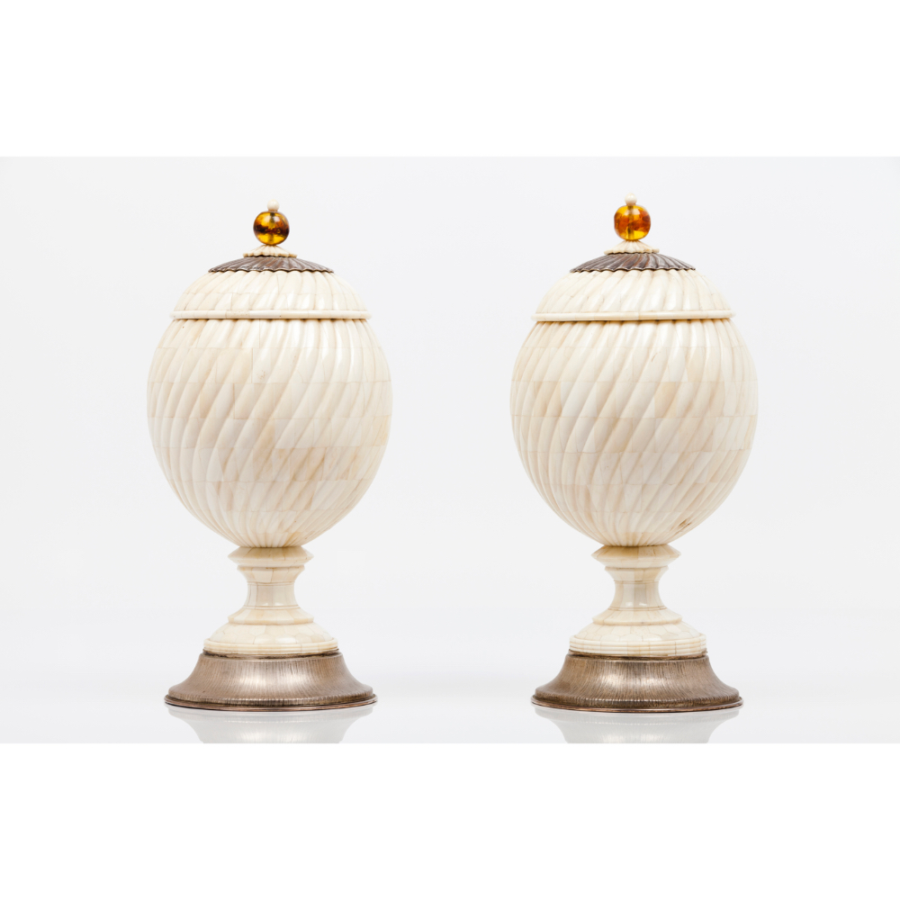 A pair of pots with coversWooden carcass coated in ivory with amber lid pommels Spiralled decoration - Image 2 of 2
