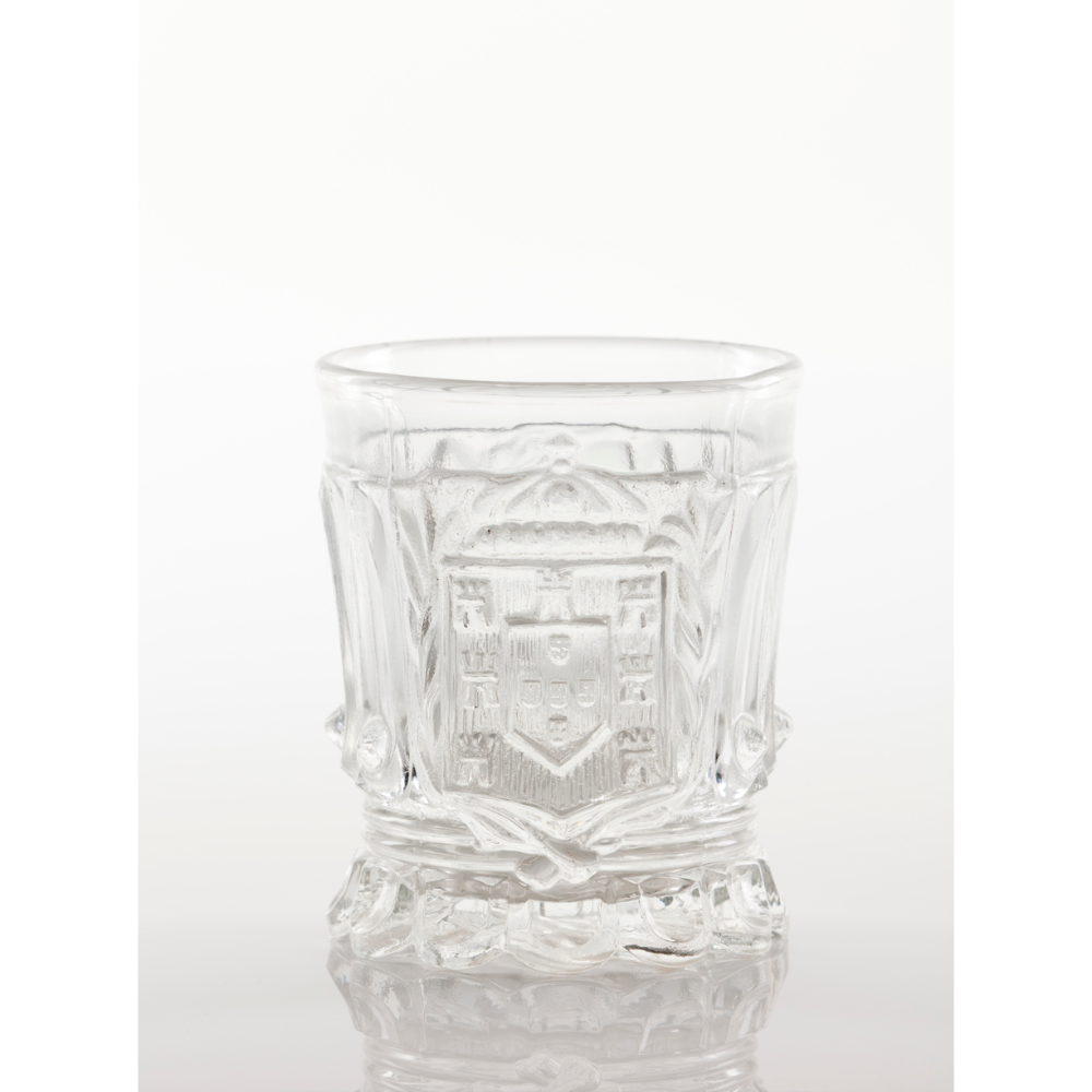 A drinking glassVista Alegre crystal Moulded decoration with the Kingdom heraldic shield and