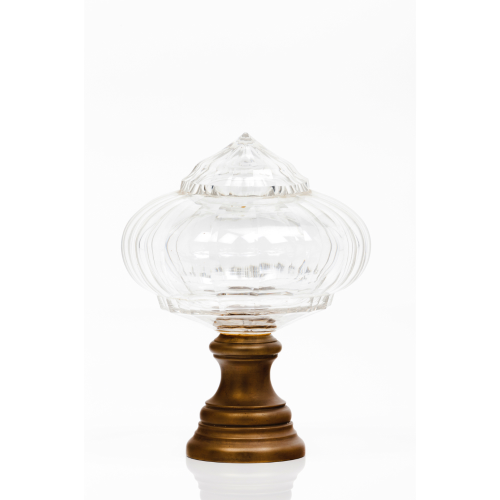 A staircase finialTranslucent glass Metal fitting Possibly Baccarat or Saint Louis France, 19th