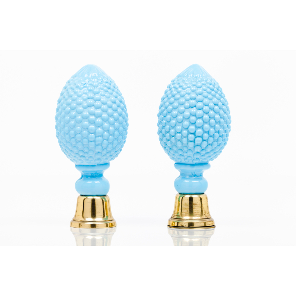A pair of staircase finialsBlue moulded glass Metal fittings Possibly Baccarat or Saint Louis