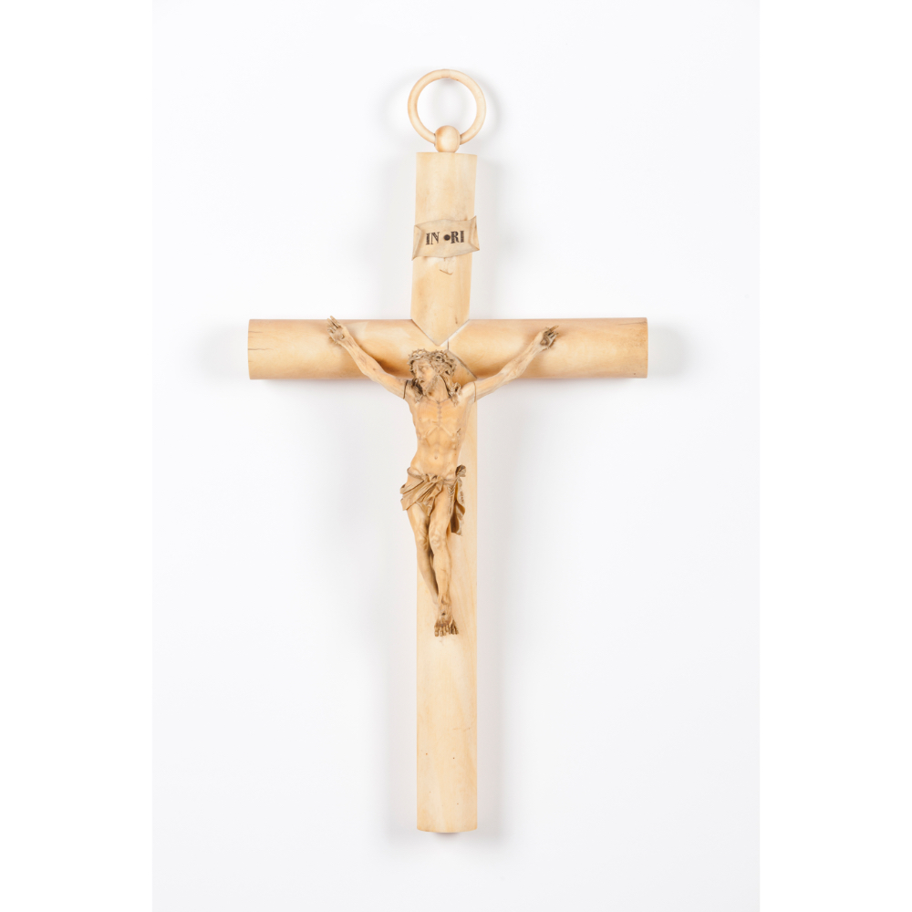 """A crucified ChristIvory sculpture Ivory cross Signed """"Déan"""" Europe, 19th century (minor losses and"""