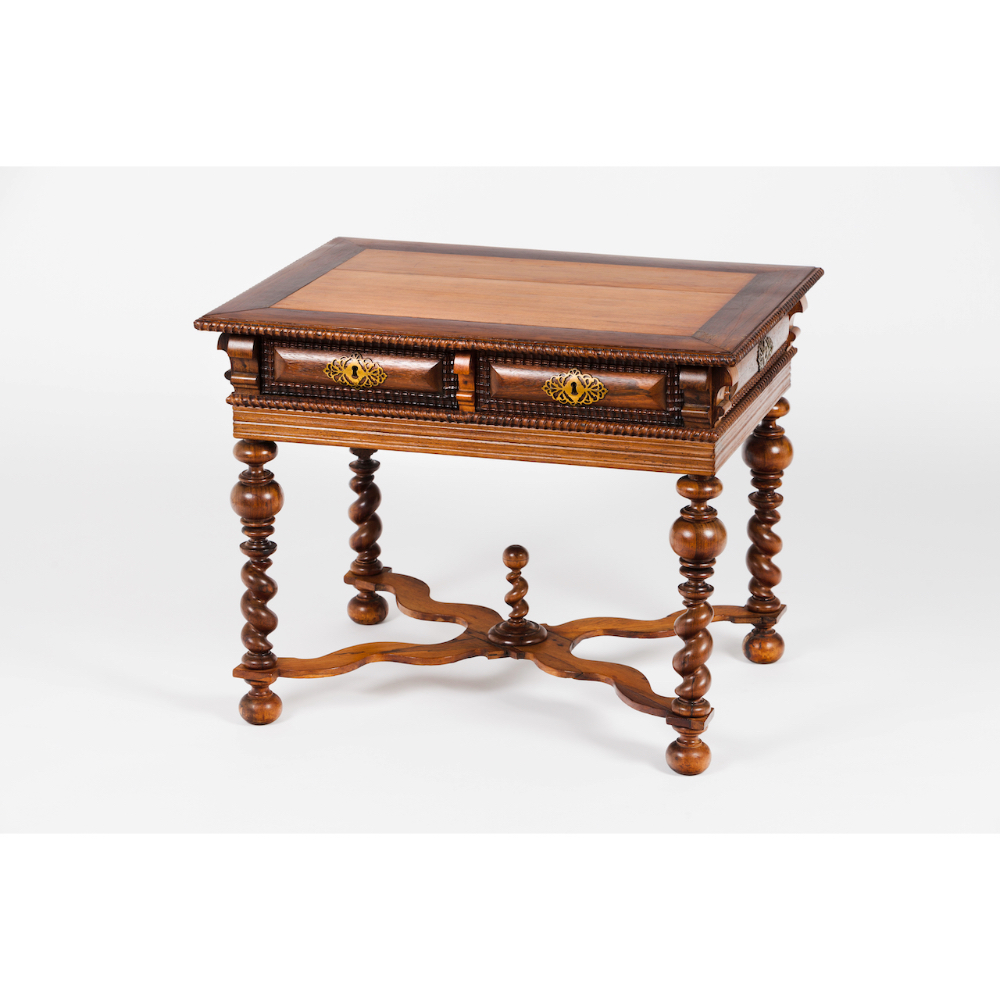 """A small """"bufete"""" tableRosewood and other timbers Carved decoration of ripple friezes, turned legs of"""