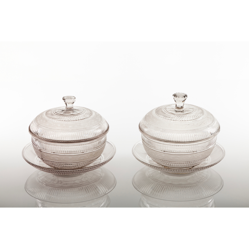 A pair of jam jars with trayCut crystal Straited friezes and foliage motifs decoration France,