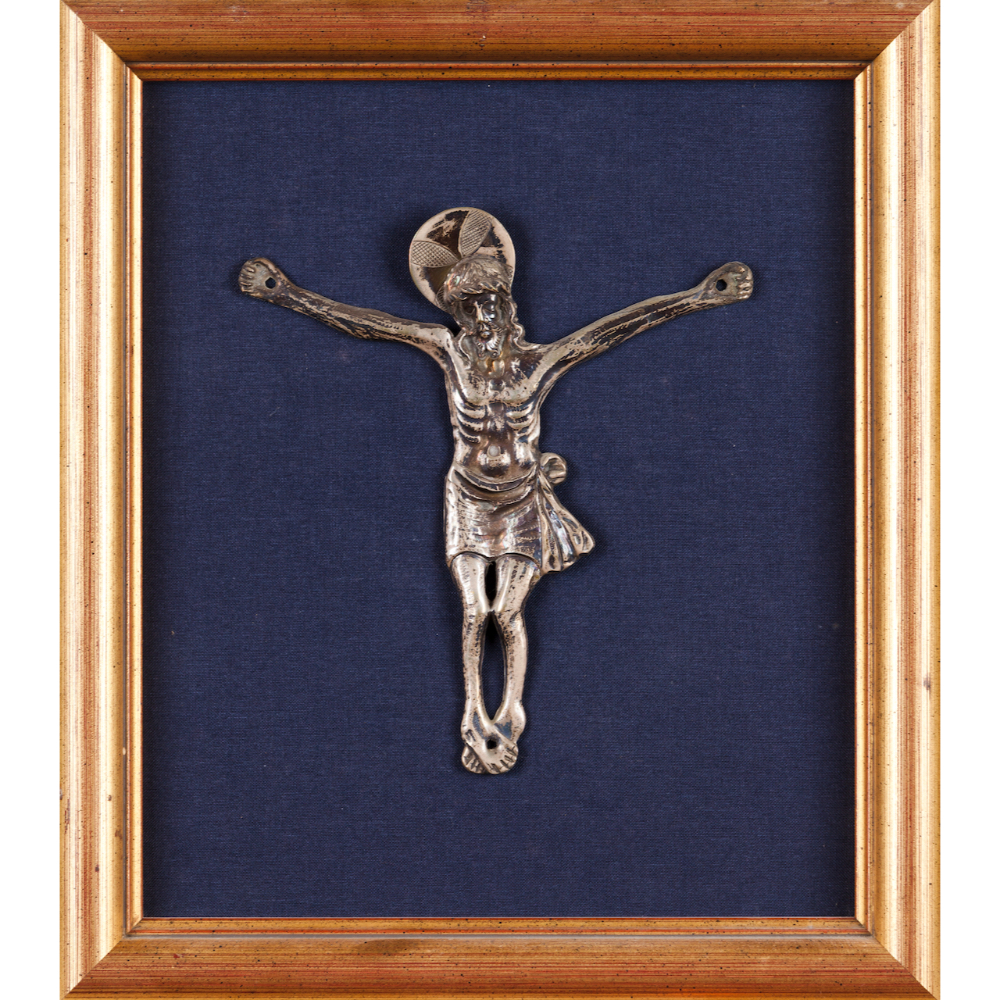 A Crucified ChristSilvered metal 18x16cm