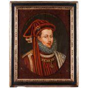 "Spanish school, 17th centuryPortrait of Filipe III, king of Spain Oil on board With inscription """