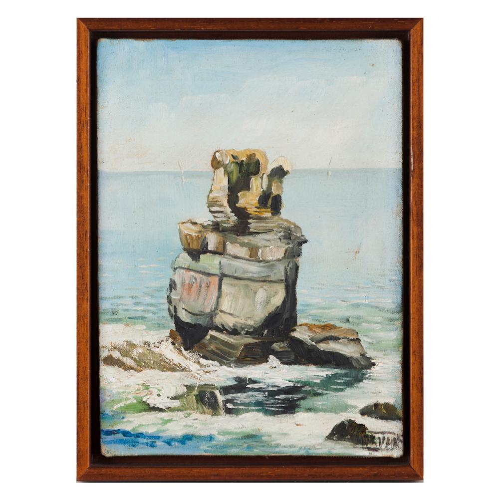 SeascapeOil on canvas Unreadable signature26x19cm